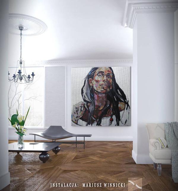 """Mozaika """"Dziewczyna z naszyjnikiem"""", 134 x 134 x 3cm, symulacja Mariusza Winnickiego"""