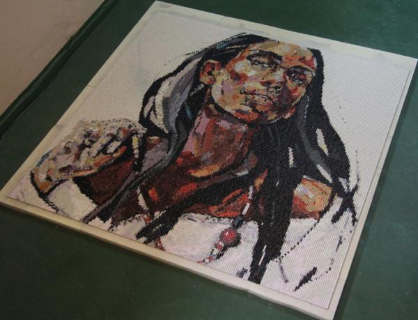 """Mozaika """"Dziewczyna z naszyjnikiem"""", 134x134cm, przed fugowaniem"""