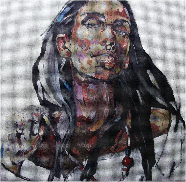 """Mozaika """"Dziewczyna z naszyjnikiem"""", 134x134x3cm"""
