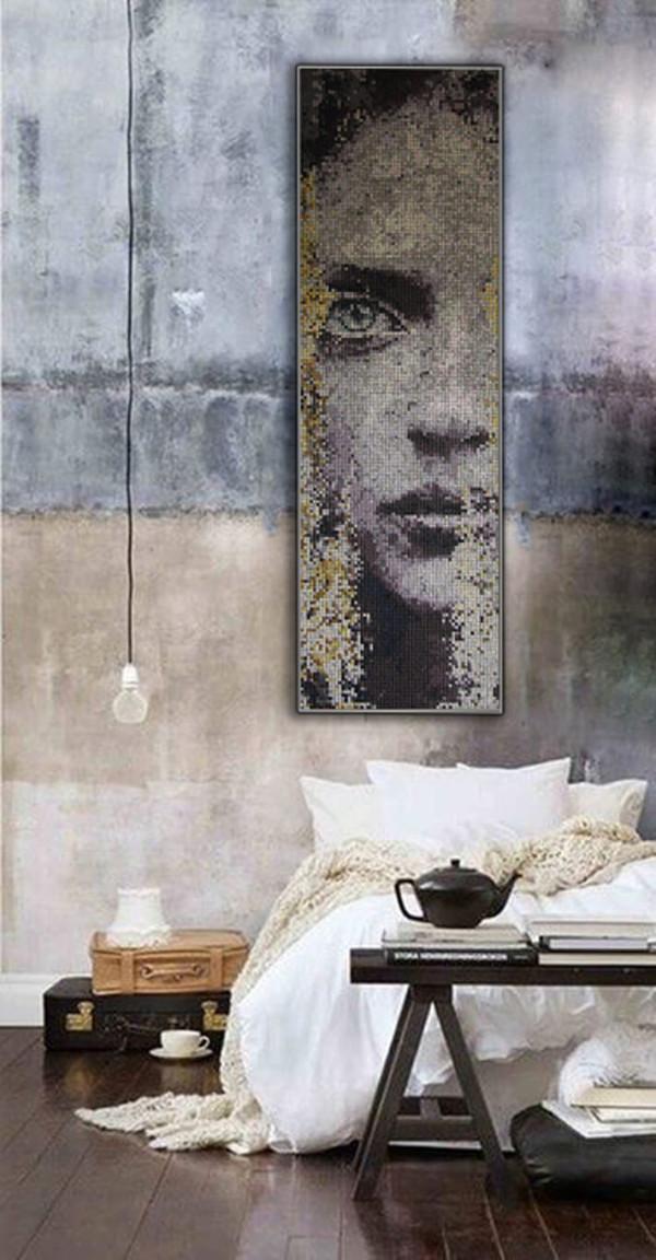 """Mozaika """"Oczekiwanie"""", 43 x 140 x 3cm, symulacja"""