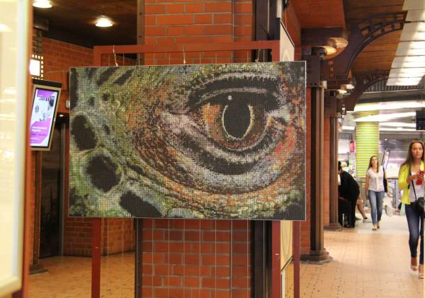 """Mozaika """"Oko Iguany"""", 150 x 95 x 3cm, w Starym Browarze (Poznań)"""